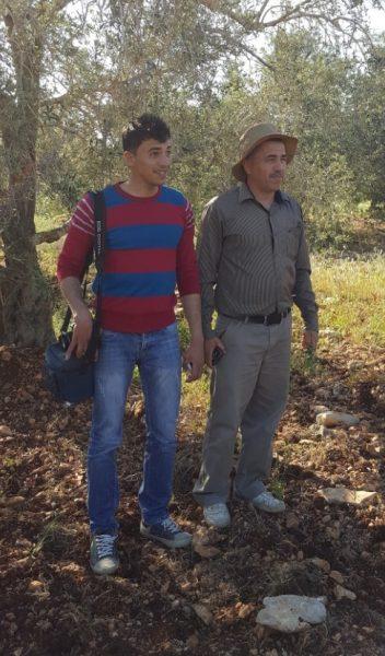 Hassan Shbeita och hans son under ett av sina olivträd utanför byn Azzun. Många av invånarna i byn har mark med olivträd utanför byn. Foto: Elisabeth