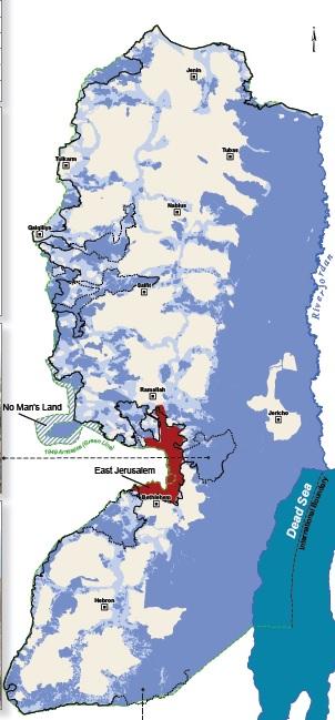 Karta över Västbanken och område C.