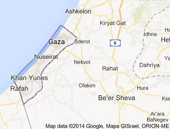 Karta över Gaza och Sderot