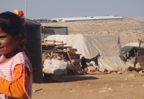I förgrunden syns den palestinska um al-Kher och bakom skymtar den israeliska bosättningen Karmel.
