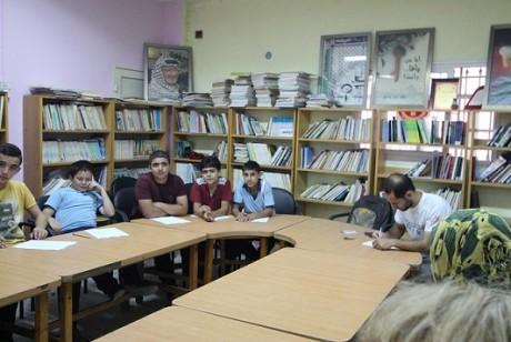 Pojkar i flyktinglägret Fawwar.