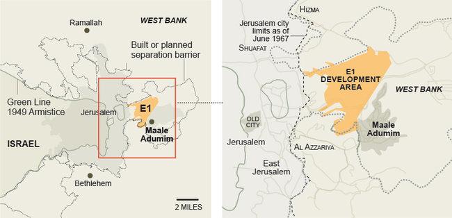 Karta över E1, publicerat av NY Times 2 december 2011.