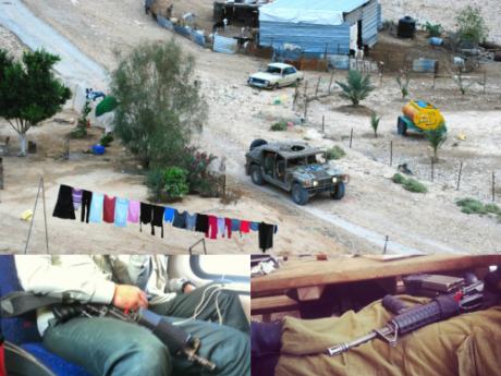 Ovan: Militärfordon åker mellan husen genom Ein ad Duyuk. Vänster: Två soldater på tåget från Haifa med maskingeväret vilandes i knät. Höger: En soldat har picknick på sabbat med sin familj med maskingeväret vilandes i knät.