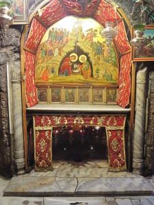 Bild på Jesus födelseplats i Födelsekyrkan i Betlehem.