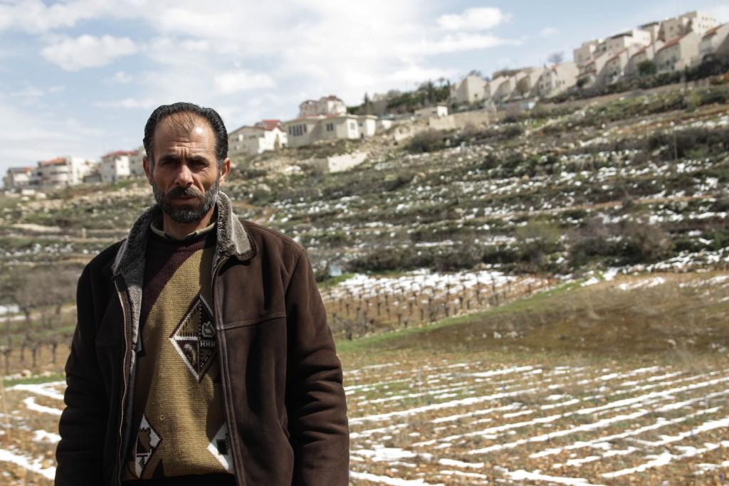 Ibrahim Sabeeh på sin mark, bonde från byn al-Khader.