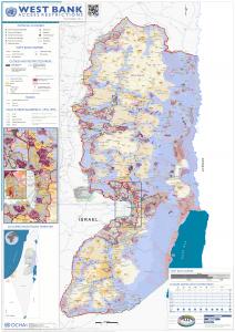 Karta över Västbanken och dess updelning i område A, B och C från FN:s kontor för samordning av humanitär hjälp, UNOCHA.