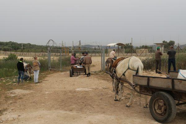 Jordbrukare väntar utanför en grind för att passera in i sömzonen. Foto: Erika Karlsson