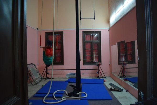 ett av rummen på Nablus Circus School. Foto: Malin